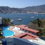 view over pool area across Acapulco bay