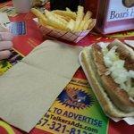 Bratwurst w/ Mustard & Onions & Fries