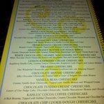 """Carte des cheesecakes classiques, il y une 2e page avec les """"alleges"""""""