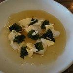 Entree-Hervey Bay scallops, shaved abalone, soy milk custard & chilled dashi