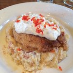 Fried catfish with jalapeño aioli and bacon grits