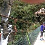 view of falls from foot bridge