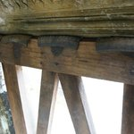 The gallery is held up in places by wooden supports padded with pieces of old rubber tires