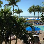 "view of pool and beach from our ""Sanibel"" room"