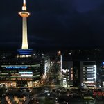 View of Kyoto Tower at night from our room