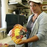 Gina with one of our fruit platters you can pre-order.