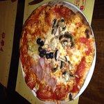 Pizza, ham and mushroom. Absolutely amazing