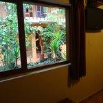 部屋の窓から中庭が見えます