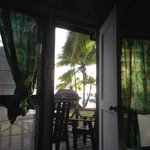View from the bed in our enclosed Fale - beautiful!