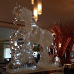 Stuning ice carving figure on Chinese New Year buffet.