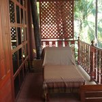 lounger on the balcony, also has table and 2 chairs and clothes airer