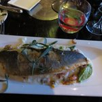 Sea Bass on bed of risotto with shrimp