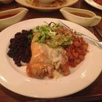 Chile Relleno with Posole & Black Beans (Christmas Chile on the side)