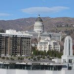 Looking north over LDS Conference Center to State Capitol