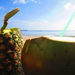 pineapple and buko juice sold at the beachfront:)