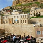 Uphill view of Mardin from the rooftop cafe