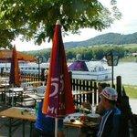 Relaxing at a Radlertref at the Melk boat landing