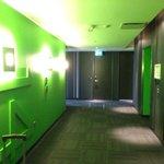 14th floor hallway. Fun colors everywhere.