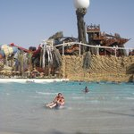 The Hunt for the Pearl: One of Yas Waterworld's swimming pool areas and the Waterworld's pearl.