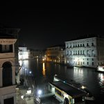 View of Grand Canal from our room at night