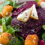 Beetroot salad with fried feta cheese