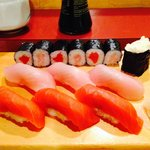 Salmon and tuna sushi at Miko's
