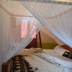 The bed with mosquito net