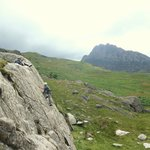 Rock climbing in Ogwen valley with a view of Tryfan