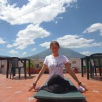 Doing yoga on the roof