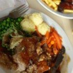 Mushrom, chicken, bacon pie+++ fresh lovley veg....loved it. Going back for it again