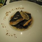 Seabass with black risotto, yummy!!
