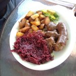 Nordic combination with red cabbage.