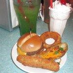 Green River soda, peppermint milkshake (kid-sized) & assorted appetizers.