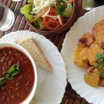 One of the dishes we ordered - chili con carne with fried potatoes