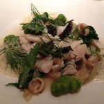 Steamed fish with squid and gnocchi