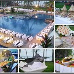 The special dinner set up by the pool