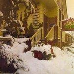 The Lotus Temple under deep snow..