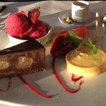 Milano Cake, Lemon Tart, Raspberry Sorbet