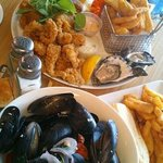 seafood basket and mussels