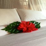 Fresh flowers on the bed upon arrival