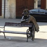 Napoleon's Army Soldier on park bench
