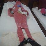 Suresh's towel man in the bed!