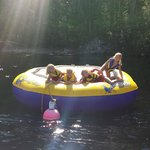 Girls on water trampoline Rizzuto Bay Christina Lake