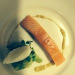 Confit nz salmon w cucumber salad ,liquorice fennel sorbet and preserved lemon dressing