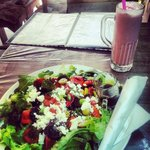 Mediterranean salad and strawberry milk shake