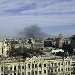 Вид на горящий Майдан во время завтрака.