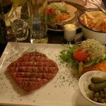 The Steak Tartare, the fries & the Charolais tenderloin in roquefort sauce