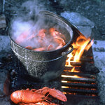Cooking lobster by the fire