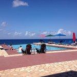 Plenty of pool umbrellas and deck chairs