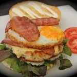 chicken burger +egg+cheese+bacon